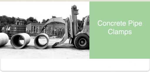 Concrete pipe clamp long reach lift truck attachments
